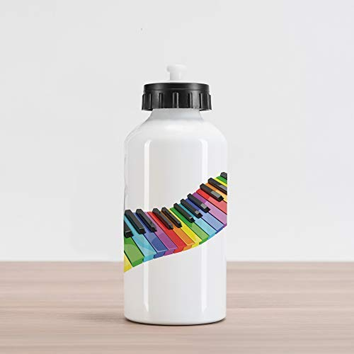 20oz Music Aluminum Insulated Spill-Proof Travel Sports Water Bottle Vibrant Colored Piano Keyboard Wave Musician Arts Entertainment Harmony Instrument, Multicolor