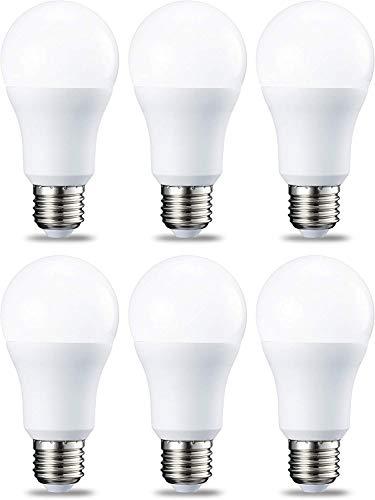 AmazonBasics Ampoule LED E27 A60 avec culot à vis, 10.5W (équivalent ampoule incandescente 75W),blanc chaud - Lot de 6