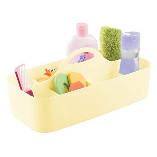 mDesign Kinderzimmer Organizer – extragroße Sortierbox mit praktischem Griff, ohne Deckel – BPA-freier Kunststoffbehälter mit 11 Fächern für Spielzeug, Windeln, Stofftiere & Co. – hellgelb