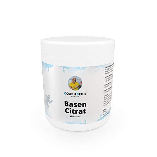 Coach Cecil Basencitrat - (Made in Germany Multivitamin Basenpulver mit Vitamin D3, C, K2 MK7 All-Trans, Magnesium, Calcium, Kalium & natürlichem Camu Camu-Extrakt; Inhalt für 30 Tage)