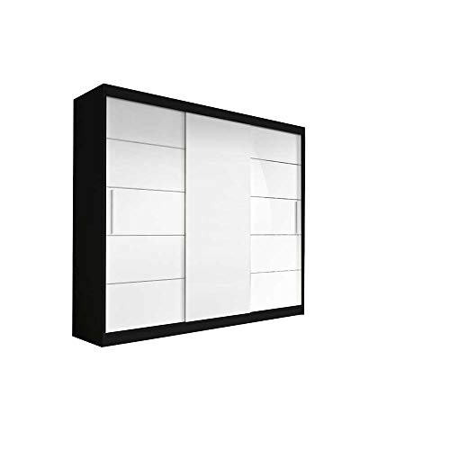 mb-moebel Kleiderschrank Schwebetürenschrank, Kleiderstange und Einlegeboden für Schlafzimmer Wohnzimmer Schiebetüren Schrank Modern Design 250 cm ELBA II (Schwarz+Weiß)