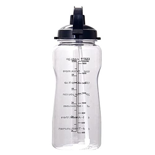 VusiElag Botella de agua deportiva de 2 l reutilizable, portátil, a prueba de fugas, botella de agua de plástico, ciclismo, gimnasio, escuela, botellas de agua personalizadas para niños y adultos