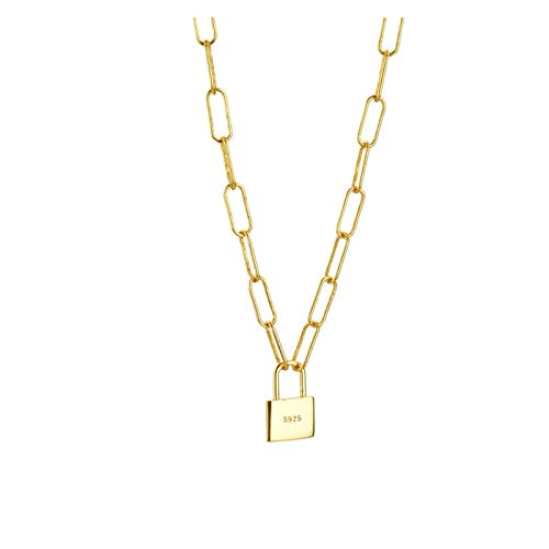 Wnkls 925 Cerradura de esterlina Colgante Cadena Larga horóscopo Cadena Cadena Roca Punk joyería Fina para Mujeres (Color : Gold)