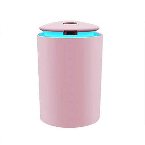Humidificador portátil para el hogar, mini USB recargable de gran capacidad, silencioso, humidificador de niebla grande, apto para oficina, dormitorio y sala de estar, con indicador LED (rosa)