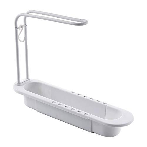 libelyef Organizador de fregadero de plástico, soporte de esponja extensible desmontable para fregadero de cocina, almacenamiento para esponja, jabón, paño para platos
