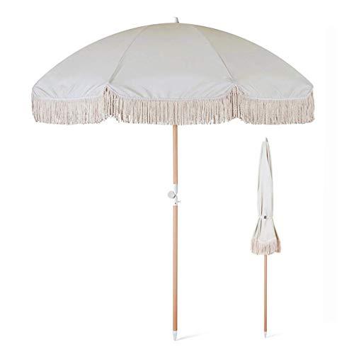 Sombrilla de jardín pequeña 2m Sombrillas Redondas Sombrillas de Madera con borlas Sombrilla con función de inclinación Sombrilla Blanca, Impermeable y protección UV, para Patio al Aire libr