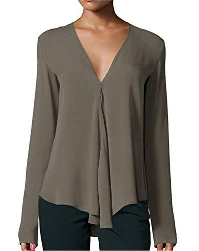 JIER Damen Chiffon V-Ausschnitt Langarm Bluse Casual Oberteil Lose Langarmshirt Vintage Hemd T-Shirt Blusen Einfarbig Elegante Tunika Shirt (ArmeegrüN,Large)