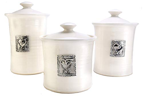 Best Review Of Oregon Stoneware Studio Heart 3-piece Canister Set, Whipping Cream