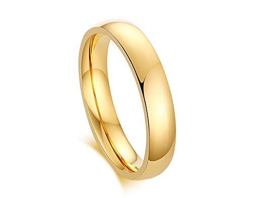 PJ JEWELLERY 4mm Gold Plated-Tone Domed High Polished Plain Tungsten Wedding,Promise,Engagement Ring Band for Women,Size J 1/2