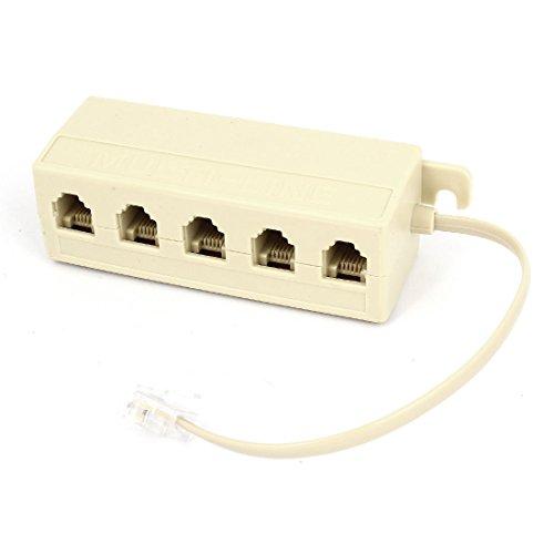 Kcopo Kunststoff Telefonleitung RJ11 1 Stecker auf 5 Buchse Telefonleitung Splitter Verteiler Anschluss Modulares Telefonkabel 5 Way Splitter Modular Adapter Telefonverteiler Box