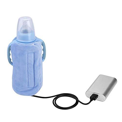 USB Flaschenwärmer Tasche, elektrische Warmhaltetasche Isoliertasche für Babyflaschen für Outdoor Reisen Unterwegs(Blau)