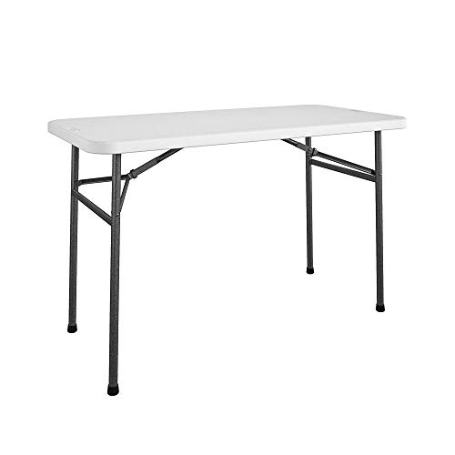COSCO 4 ft. Straight Folding Utility Table, White, Indoor & Outdoor, Portable Desk, Camping, Tailgating, & Crafting Table