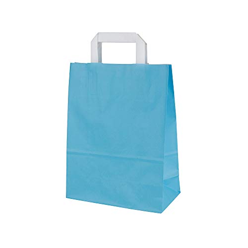 BIOZOYG Bolsas de Papel con Asas Planas 70g 22+10x31cm 'Trigon' I Bolsas de Papel Kraft robustas I Bolsas de Regalo Grandes para Fiesta I Bolsas con Fondo sólido 25 Bolsas de Papel Azul Claro