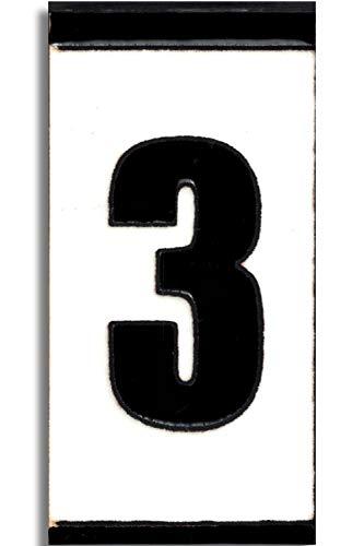 TORO DEL ORO Números casa exterior - Placa Puerta - Cerámica esmaltada - Pintados a Mano con la técnica de la cuerda seca - Nombres y direcciones - Modelo Polo 5,5 cms x 10,5 cms (Número Tres