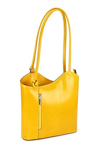 Belli ital. Leder Handtasche Backpack Damen Rucksack aus feinstem Leder in gelb - 28x28x8 cm (B x H x T)