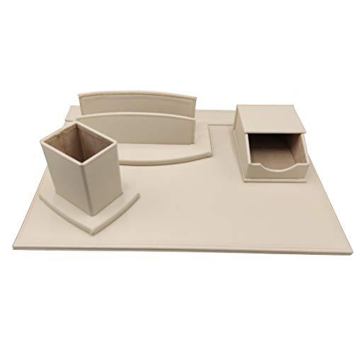 oggettando, Schreibtisch-Set aus Kunstleder, bestehend aus Schreibtisch, Briefablage, Stiftehalter (beige)