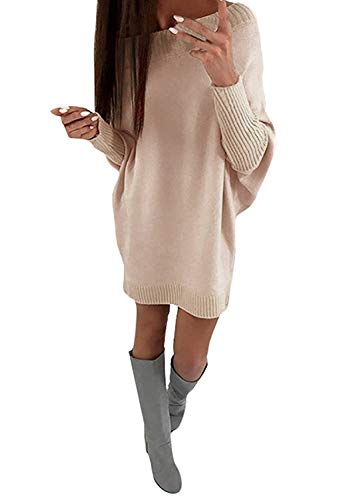 Shallgood Damen Casual Pullover Pulli 8 Farben Einfarbig Schulterfrei Strickkleid Frauen Fledermaus Langarm Lose Kurz Minikleid Outwear Sweatkleid...