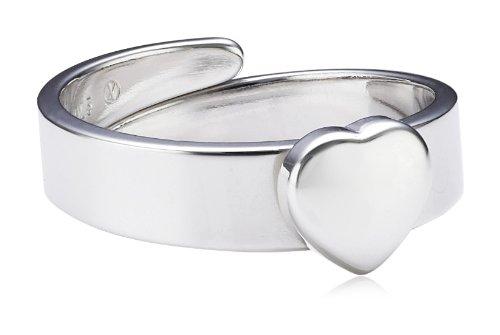 Xaana Kinder und Jugendliche-Ring 925 Sterling Silber rhodiniert Herz glanz größenverstellbar 14 cm AMZ0189