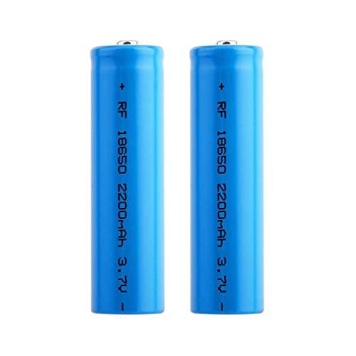 Baterías Recargables 18650 Litio Iones Batería 3.7V 2200mah Capacidad ICR Baterías de Litio Células Acumuladoras para Linterna LED Linterna Antorcha, Azul (2PCS)