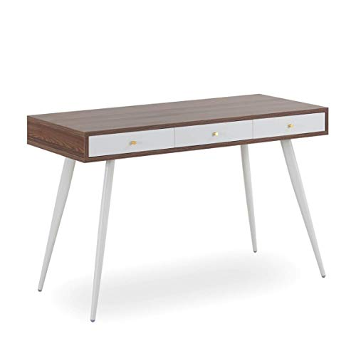 WILLIAMSPACE Desk 47 inch with 3 Drawers - Modern Mid Century Desk for Home Office (Walnut + Grey)