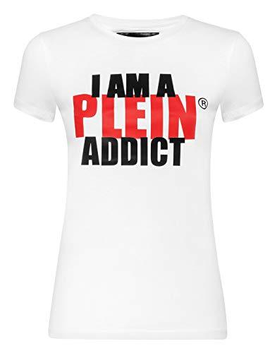 Philipp Plein Damen T-Shirt Round Neck SS Statement Weiß Large