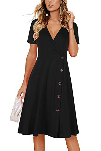 Brinkina Women's Black Dress Short Sleeves V Neck Casual Fit and Flare Wrap Button Down Midi Sundresses(M,BK204-Black)