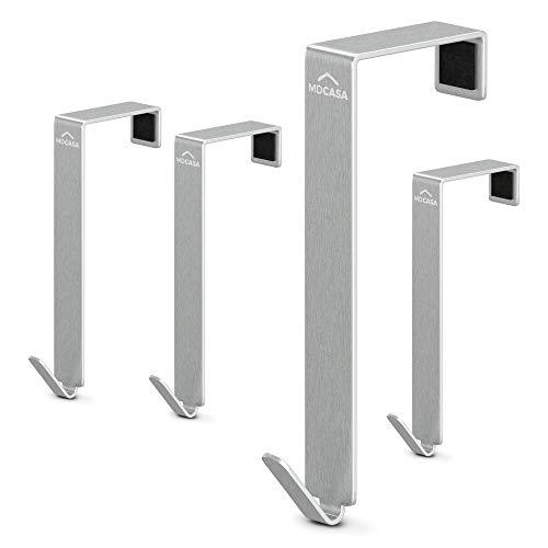 MDCASA Türhaken 3,5cm - für breite Türen - Edelstahl gebürstet - 4 Stück - Kleiderhaken Tür - Handtuchhalter zum Einhängen - Türkleiderhaken – Badezimmerhaken