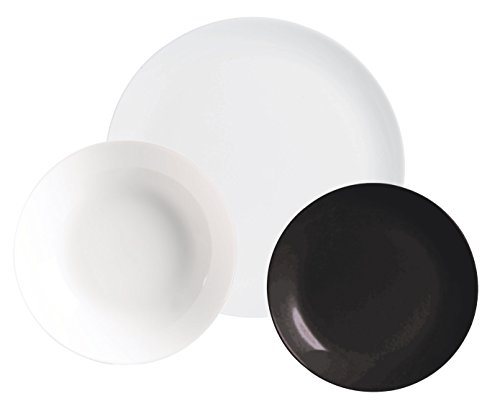 AMBITION Valencia Night & Day Service de table 18 pièces en verre Blanc/noir 26 x 16 x 26,5 cm