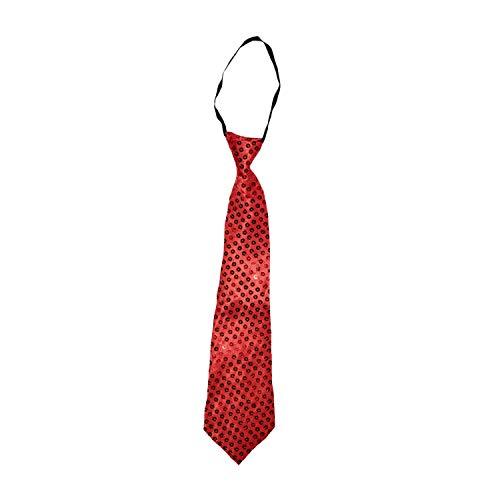 Party-Factory-Ladenburg Pailletten Krawatte Glitzer Damen & Herren Designer 12 Farben (Rot)