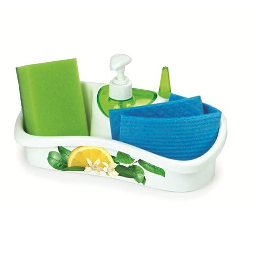 Snips Saponello Porte-éponge avec distributeur de savon Plastique Blanc/vert