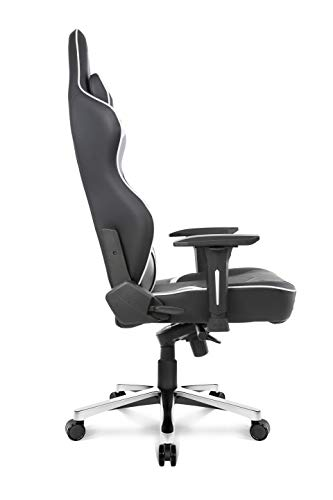 AKRacing Masters Series Max Gaming Chair with Wide Flat Seat, 400 Lbs Weight Limit, Rocker and Seat Height Adjustment Mechanisms with 5/10 Warranty,White -