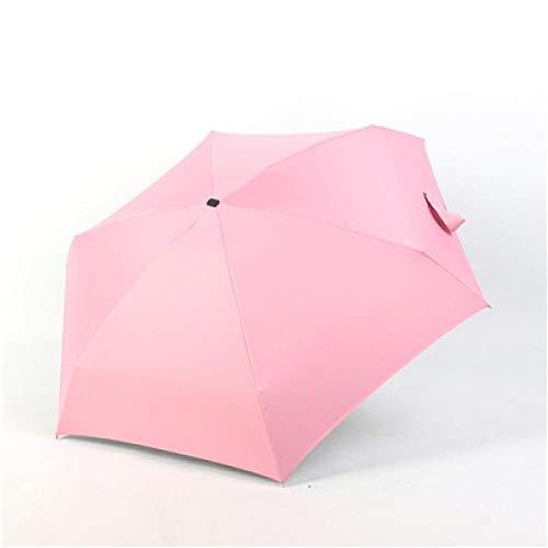 Parasol Parapluie Cinq Parapluie Pliant Revêtement Noir Femmes Hommes Mini Parasol Filles Anti-UV Étanche Portable Voyage Soleil Parapluies Rose
