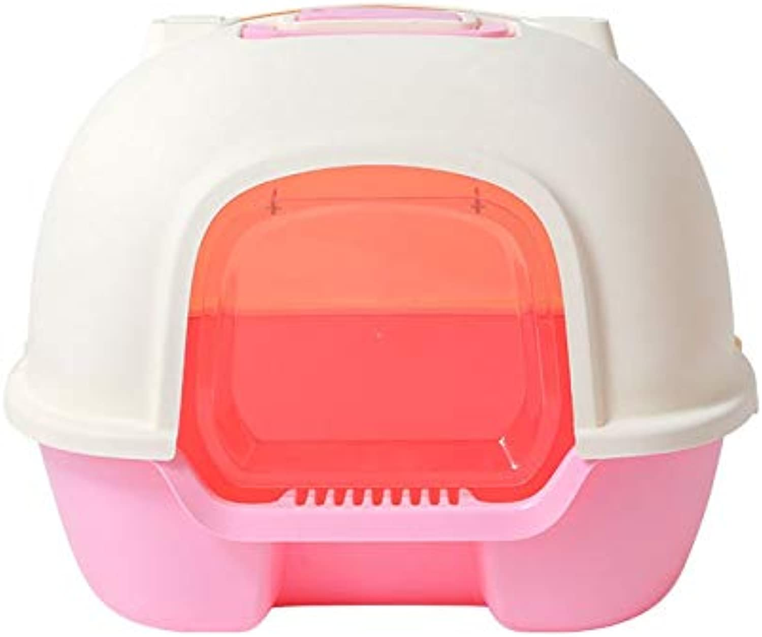 CWXG Cat Litter Box with Lid Extra Large by Litter Box AntiSplashing Cat Toilet SelfCleaning Cat Bedpan with Lid Stainresistant Odorresistant and Durable Pet Litterbo BoxPink