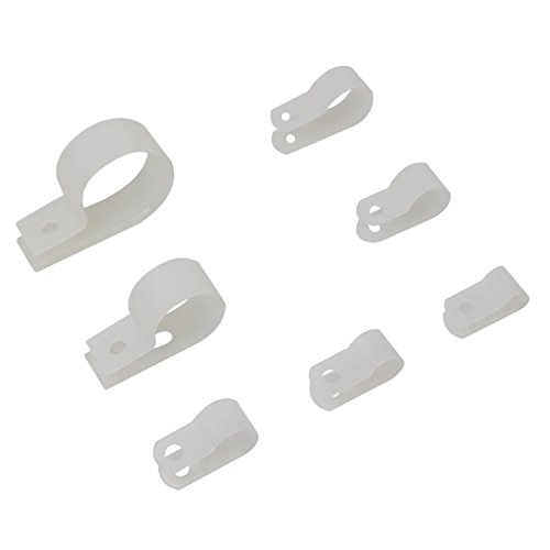 270 Pcs White Nylon R Type Cable Clamp Fastener Plastic Wires Cord Clamp Clips Assortment Kit with 7 Different Size for Wire Management
