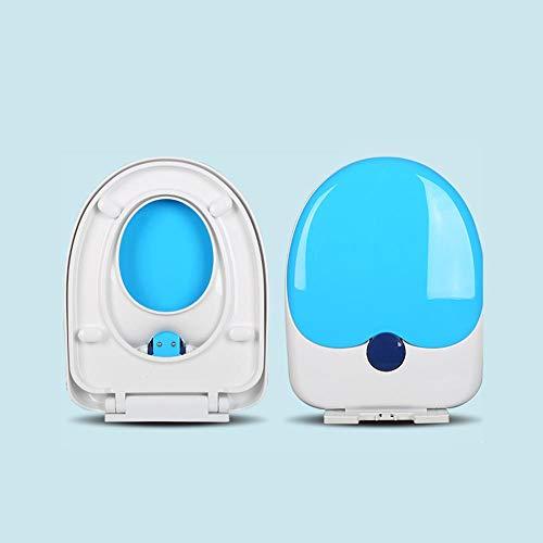 Eltern Kind Toilettendeckel, 2 in 1 Duty Kinder-WC-Sitz für Erwachsene, Toilettensitz, einfach zu installieren und sauber zu halten, antibakteriell-Blue-U-Typ-Installation von unten