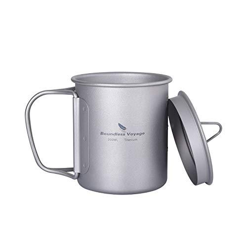 iBasingo Titan Tasse Camping Becher mit Deckel Klappgriff Outdoor Ultraleichter Tee Kaffee Wasserbecher Picknick Kochgeschirr 200ml Ti15141AI