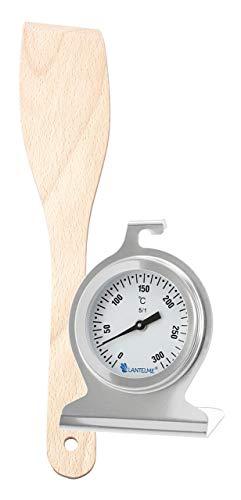Lantelme Backofenthermometer Edelstahl und Holzwender Set für Backen und Braten im Backofen analog Thermometer 300°C 2835