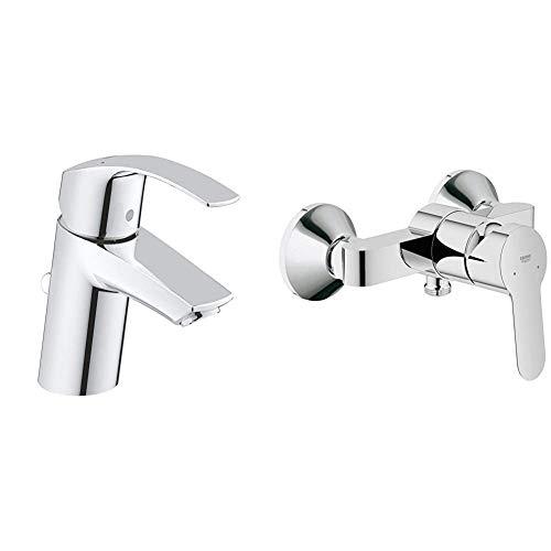 GROHE Eurosmart | Badarmatur - Einhand-Waschtischbatterie, mit Einlochmontage & Keramikkartusche | S-Size & BauEdge | Badarmatur - Einhebel-Duschmischer, integriertes Rückschlagventil | Chrom
