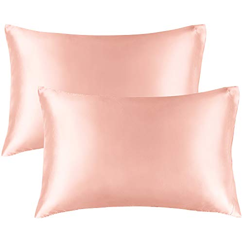 BEDELITE Satin Silk Pillowcase for Hair and Skin, Coral Pillow Cases Standard Size Set of 2 Pack Super Soft Pillow Case with Envelope Closure (20x26 Inches)