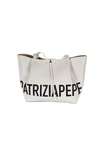 PATRIZIA PEPE SHOPPING CITY MEDIA MAXI LOGO WHITE BLACK - MADE IN ITALY