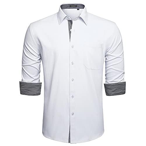 HISDERN Camisas Blanco Hombres Camisa Hombre Manga Larga Ropa Camisas de Vestir...