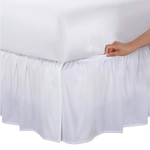 """Bed Maker's Wrap-Around Bedskirt Never Lift Your Mattress, Classic 14"""" Drop Length Gathered Ruffle Styling, Queen, White"""