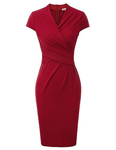 GRACE KARIN Vestito Tubino Midi Vino Rosso Abito Donna Eleganti da Cerimonia Vestito Tubino Elegante M CLE02037-4