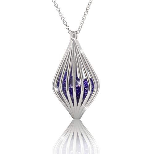 PAVEL´S Viola Magic - Collar largo para mujer, plata 925, 80 cm, colgante lila con circonitas de colores en calidad AAA, incluye joyero y certificado de autenticidad