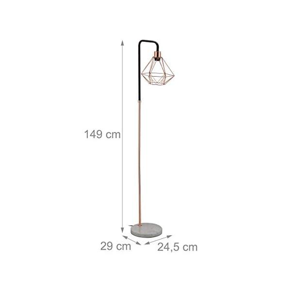 Relaxdays-Stehlampe-Schirm-in-Diamant-Form-Marmorfu-Wohnzimmer-E27-HxBxT-149-x-245-x-29-cm-Kupferschwarzwei-Stahl