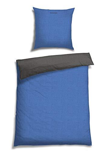 Schiesser Wendebettwäsche Doubleface Blau-Anthrazit, 100% Baumwolle, Größe:135 x 200 cm + 80 x 80 cm
