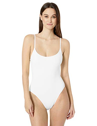 Anne Cole Studio Women's Vintage Lingerie Maillot One Piece Basic Swimsuit, White, 8