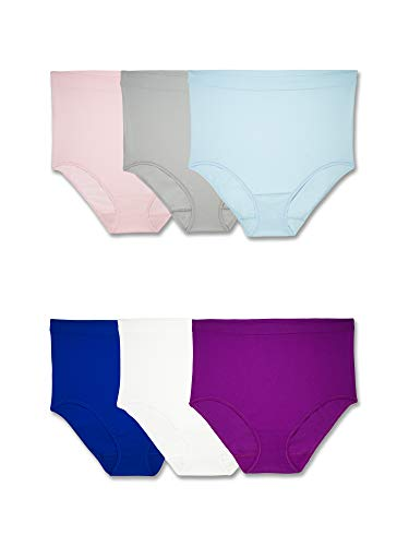 Fruit of the Loom Women's Plus Size Fit Multi Pack Underwear, Assorted Seamless Briefs (6 Pack), 10