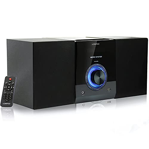 LONPOO Compact Stereo HiFi System with CD Player, Bluetooth, FM Radio, USB, AUX-IN, Remote control, LED Display, 2-Way Clear & BASS Sound (LP-886)