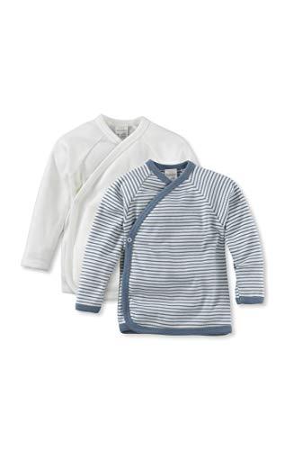hessnatur Baby Mädchen und Jungen Unisex Langarm Wickelhemd aus Reiner Bio-Baumwolle 2er-Set Rauchblau 50/56